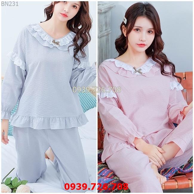 Đồ ngủ nữ tay dài - Đồ bộ mặc nhà quần dài chất cotton crepe nhẹ mát phối ren cổ bèo công chúa MÀU xanh và hồng