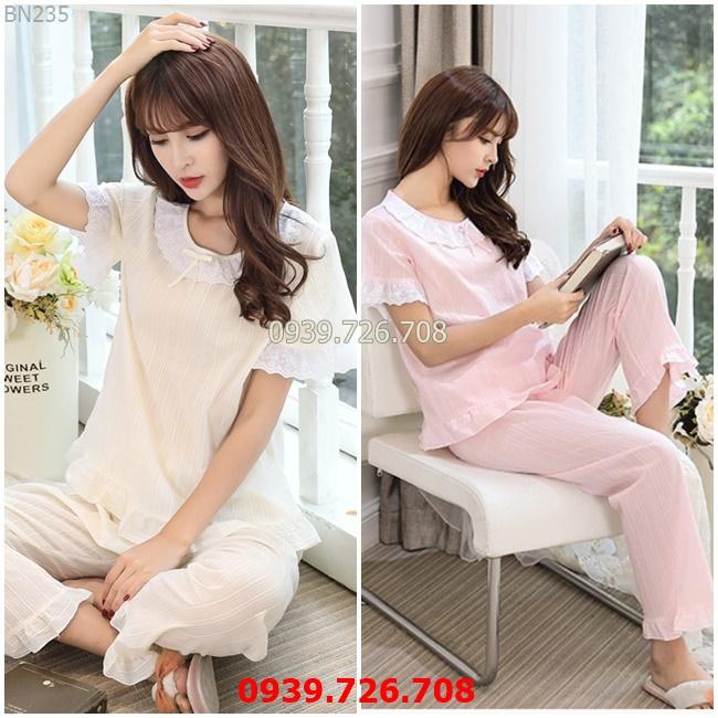 Đồ bộ mặc nhà quần dài tay ngắn - Đồ ngủ nữ chất cotton đũi phối ren công chúa hàng đẹp chuẩn MÀU hồng và vàng