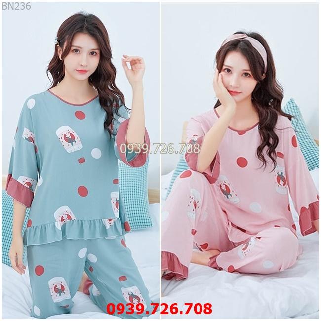 Bộ cotton mặc nhà - Đồ ngủ nữ đẹp quần dài tay lửng chất cotton lụa mịn mát hàng đẹp chuẩn MÀU xanh và hồng