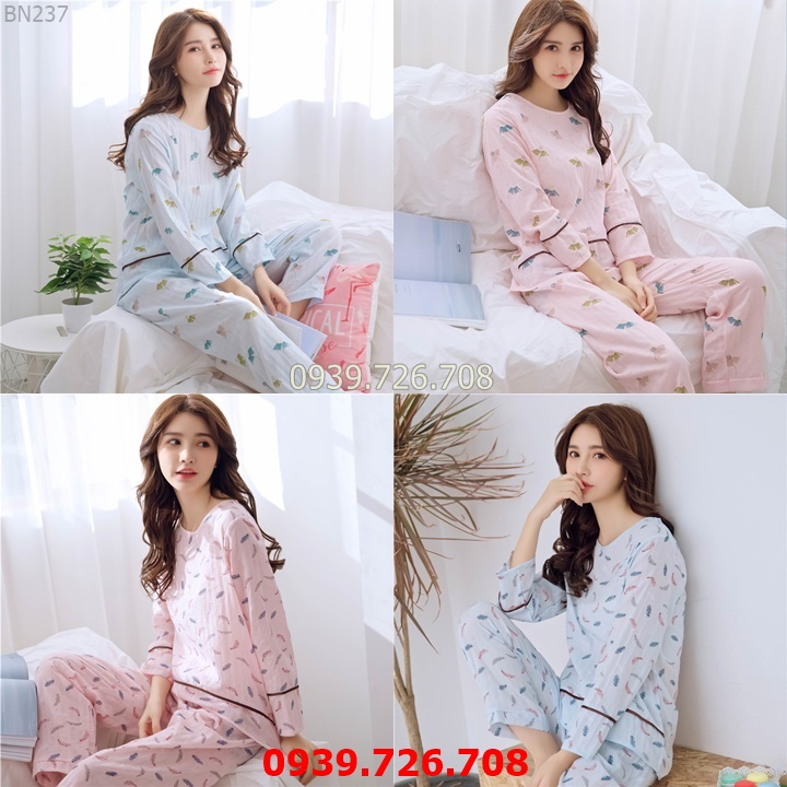 Đồ bộ mặc nhà quần dài tay dài - Đồ ngủ nữ chất cotton crepe nhẹ mát hàng đẹp chuẩn MÀU hồng và xanh