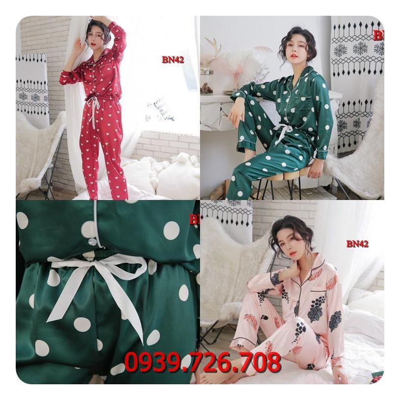 Bộ đồ ngủ nữ pijama tay dài quần dài chất phi lụa