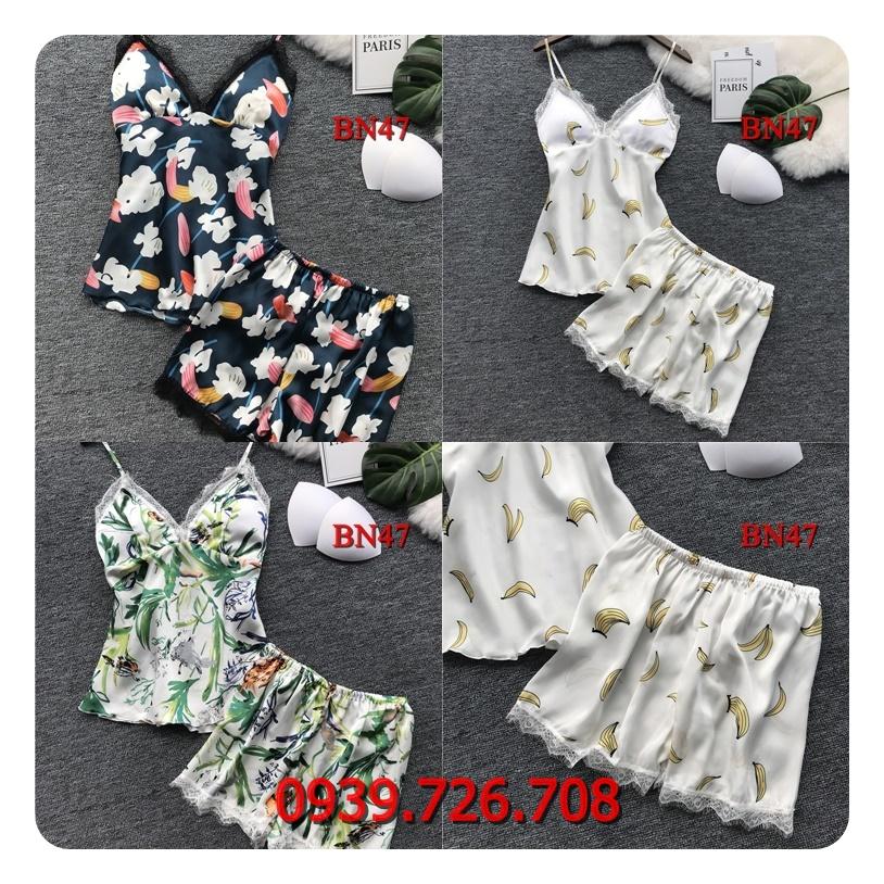Bộ ngủ nữ quần đùi áo 2 dây chất phi lụa họa tiết