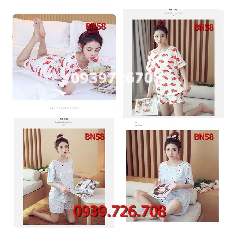 Bộ ngủ nữ chất cotton tay ngắn hàng chuẩn đẹp