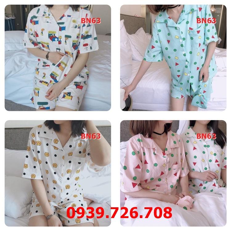 Bộ ngủ nữ pijama chất cotton tay ngắn thoáng mát