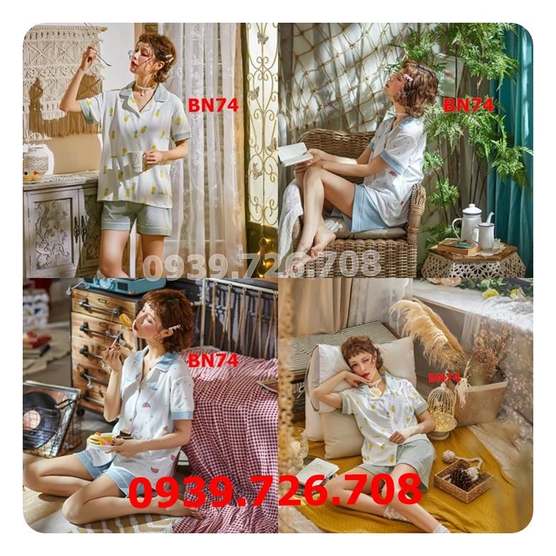 Bộ ngủ Pijama cotton kẻ sọc tay ngắn hàng cao cấp