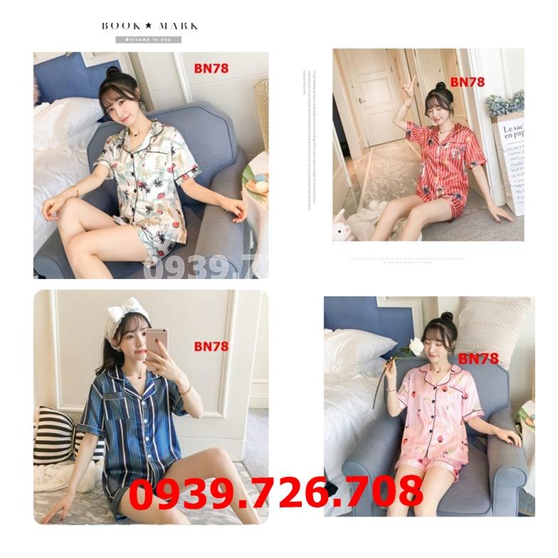 Bộ ngủ pijama nữ quần đùi tay ngắn họa tiết
