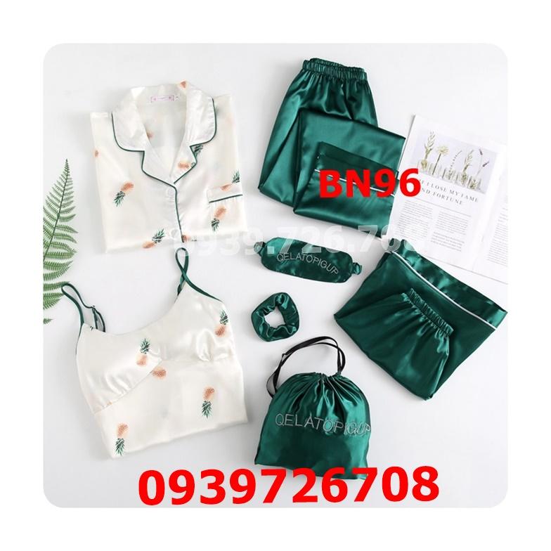 Bộ ngủ nữ 7 món họa tiết quần trơn chất liệu lụa cao cấp mát mịn