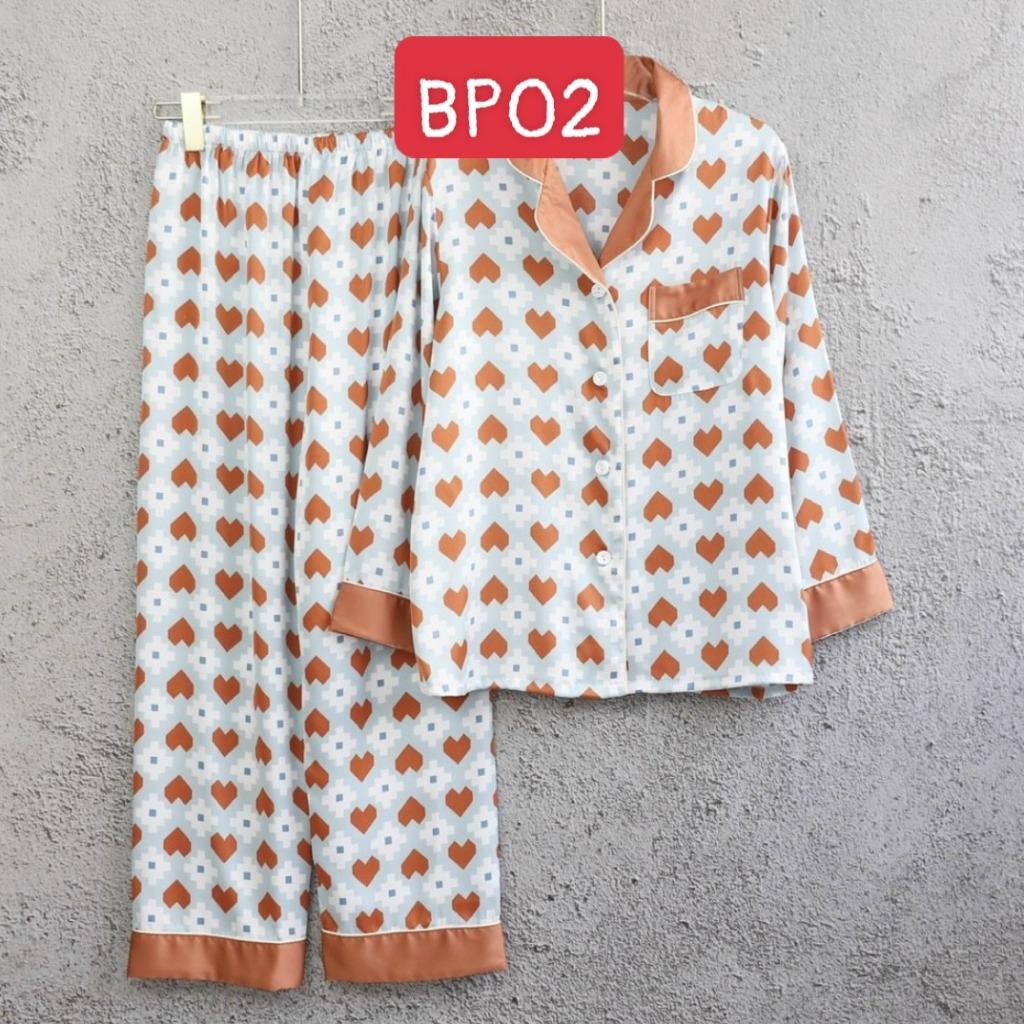 Đồ bộ mặc nhà cao cấp- Bộ đồ ngủ pijama lụa họa tiết viền màu quần dài tay dài cao cấp chất lụa mát rượi hàng đẹp chuẩn
