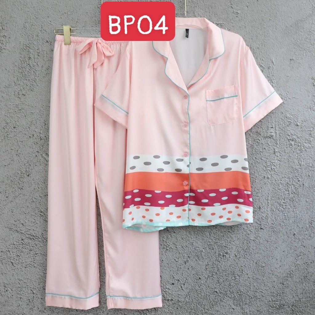 Đồ mặc nhà cao cấp- Bộ đồ ngủ pijama lụa cao cấp quần dài tay ngắn họa tiết phối màu hàng đẹp chuẩn chất mịn mát rượi hàng cao cấp