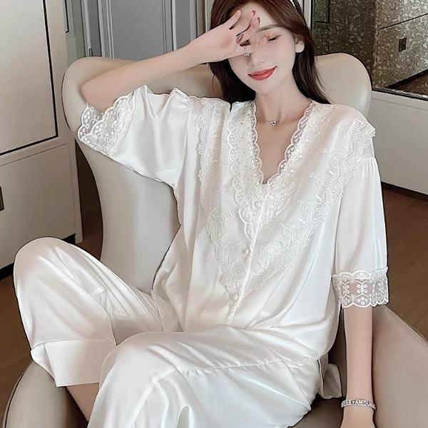 Đồ bộ mặc nhà cao cấp- Bộ đồ ngủ pijama lụa trơn phối ren quần dài tay dài cao cấp chất lụa mát rượi hàng đẹp chuẩn