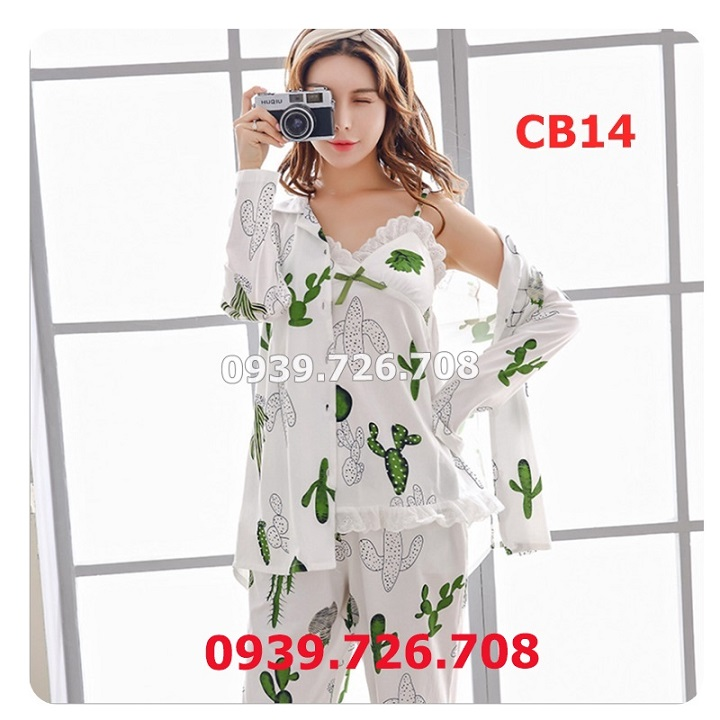 Áo choàng ngủ nữ kết hợp bộ ngủ nữ chất vải cotton thấm hút mồ hôi