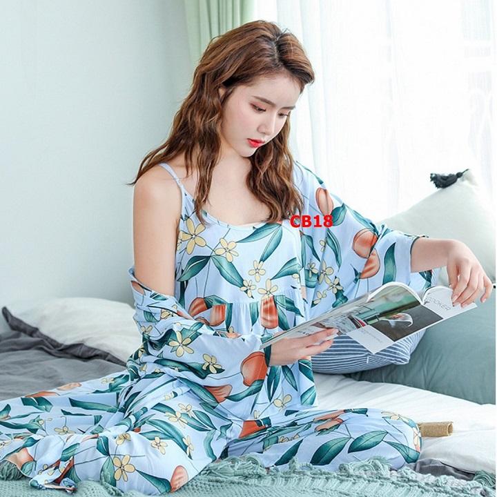 Áo choàng ngủ kết hợp bộ ngủ nữ quần dài chất cotton mịn mát