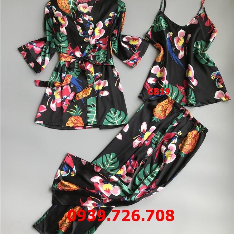 Áo choàng kết hợp bộ ngủ nữ lụa họa tiết hoa lá
