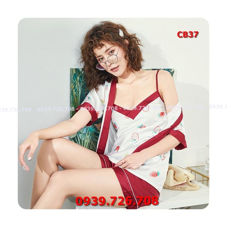 Áo choàng ngủ nữ kết hợp bộ ngủ lụa quần đùi 2 dây chất đẹp mịn mát