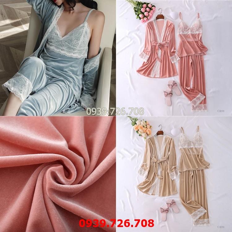 Áo choàng ngủ kết hợp bộ ngủ - Bộ đồ ngủ 2 dây đẹp chất nhung cao cấp phối ren mềm mịn quyến rũ