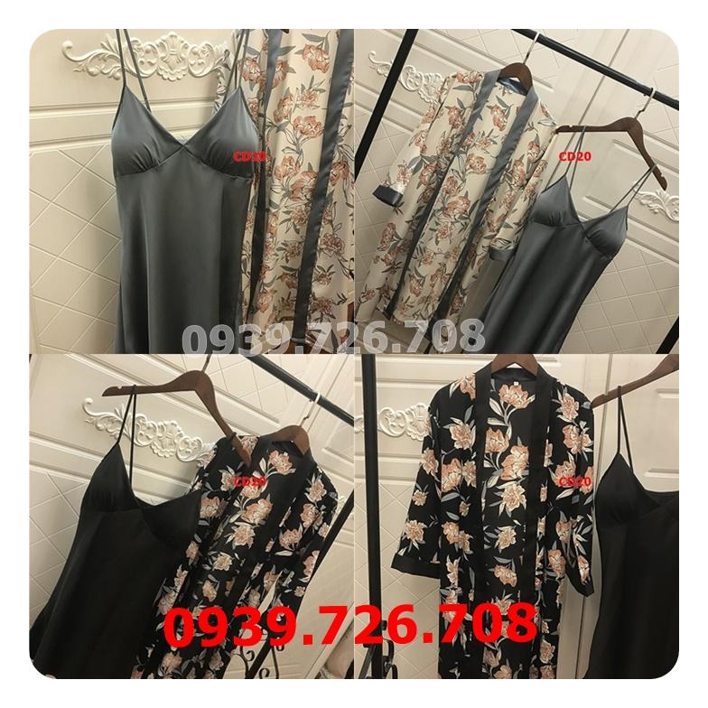 Áo choàng kết hợp đầm ngủ nữ áo trơn 2 dây quần hoa chất phi lụa