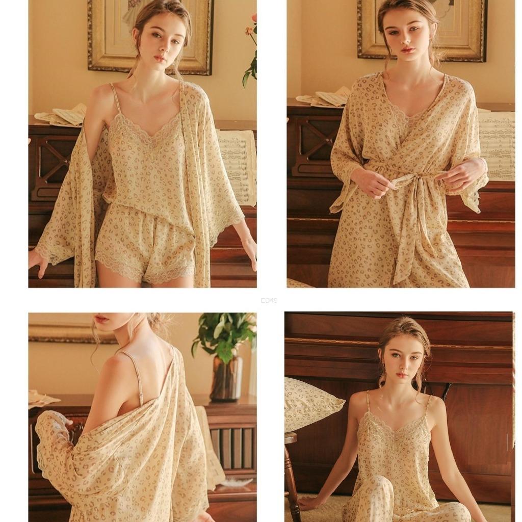 Combo bộ ngủ nữ 5 món gồm áo choàng, váy, áo, quần đùi, quần dài chất lụa cao cấp phối ren