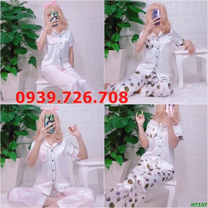Bộ ngủ pijama hàng thiết kế quần dài tay ngắn áo trắng phối nẹp đôi chất lụa cao cấp