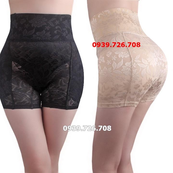 Quần nịt bụng độn mông và hông dạng đùi 4 trong 1 hàng chuẩn đẹp tạo đường cong quyến rũ - Màu da và đen