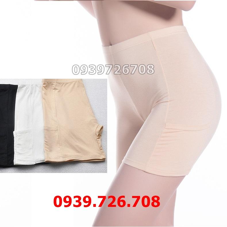 Quần mang trong váy có túi viền trơn chất liệu cotton 4 chiều co giãn thoáng mát
