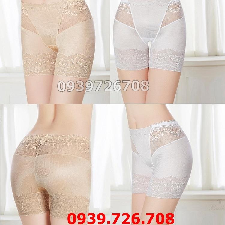 Quần lót mặc trong váy chất liệu thun lạnh mát rượi cao cấp chữ V phối ren mịn