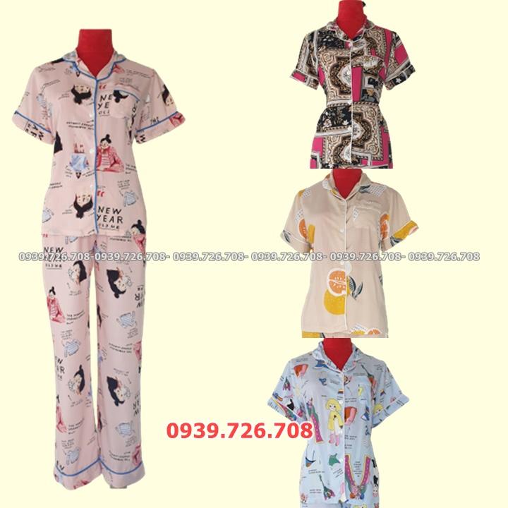 Bộ ngủ Pijama chất lanh mịn mát quần dài tay ngắn