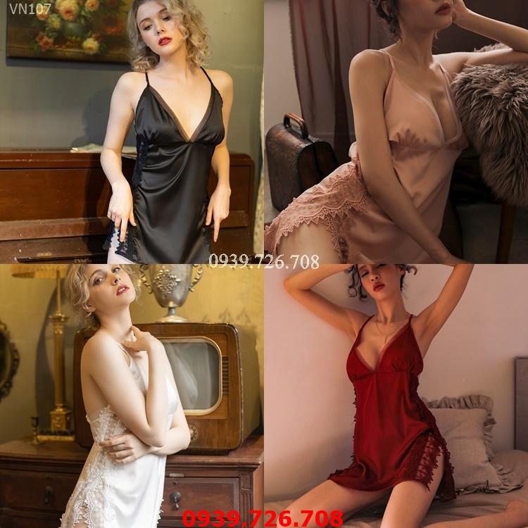 Đầm ngủ nữ đẹp - Váy ngủ lụa satin cao cấp 2 dây phối ren thêu 2 bên xẻ tà quyến rũ