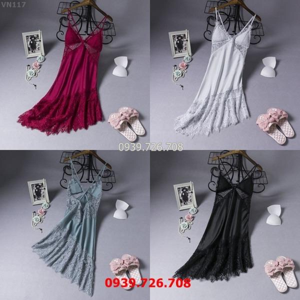 Đầm ngủ nữ đẹp-Váy ngủ lụa cao cấp 2 dây phối ren tà xéo quyến rũ