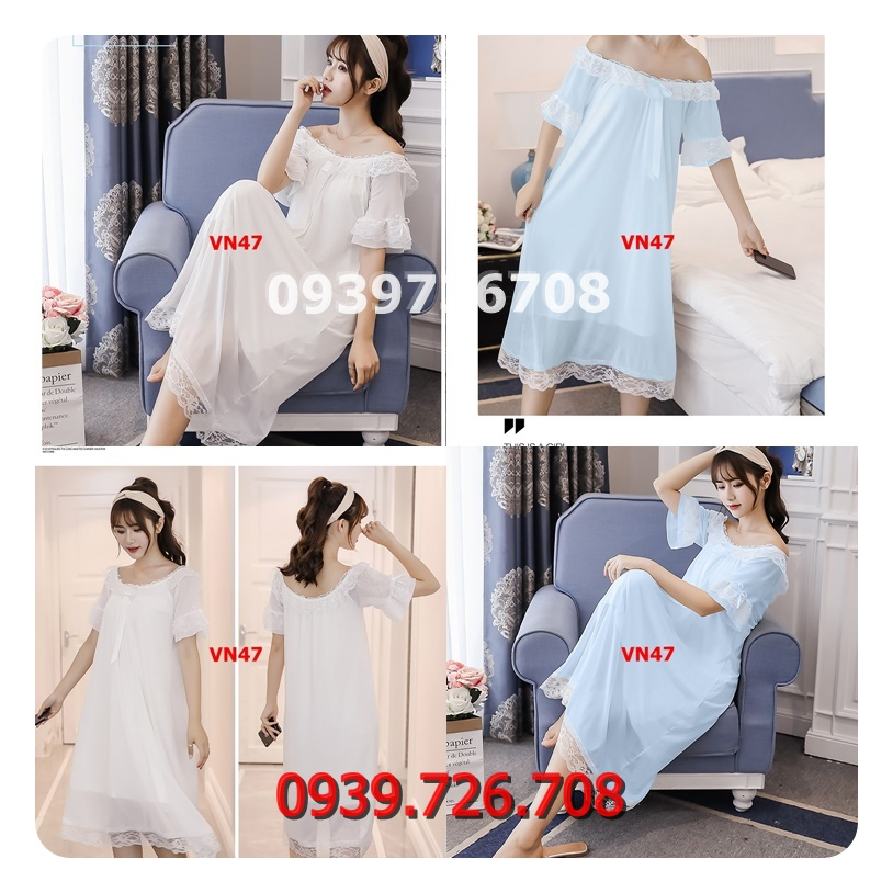 Đầm ngủ nữ ren lưới lót cotton kiểu dáng công chúa thoáng mát