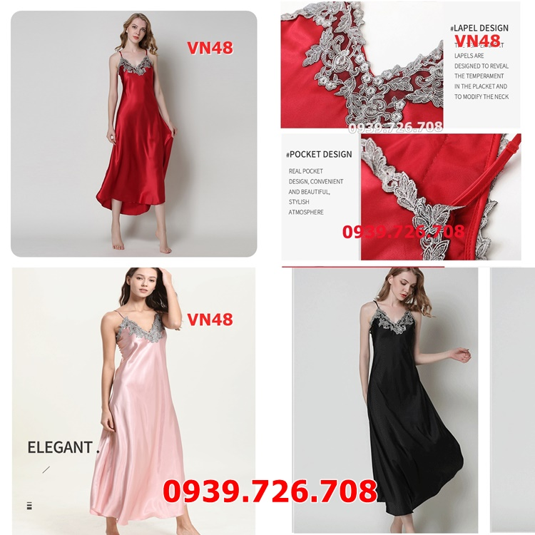 Đầm ngủ nữ dài sang trọng quyến rũ chất phi lụa mịn mát