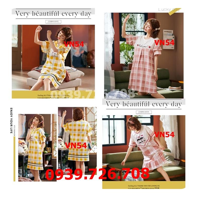 Đầm ngủ nữ cotton caro hàng đẹp chuẩn