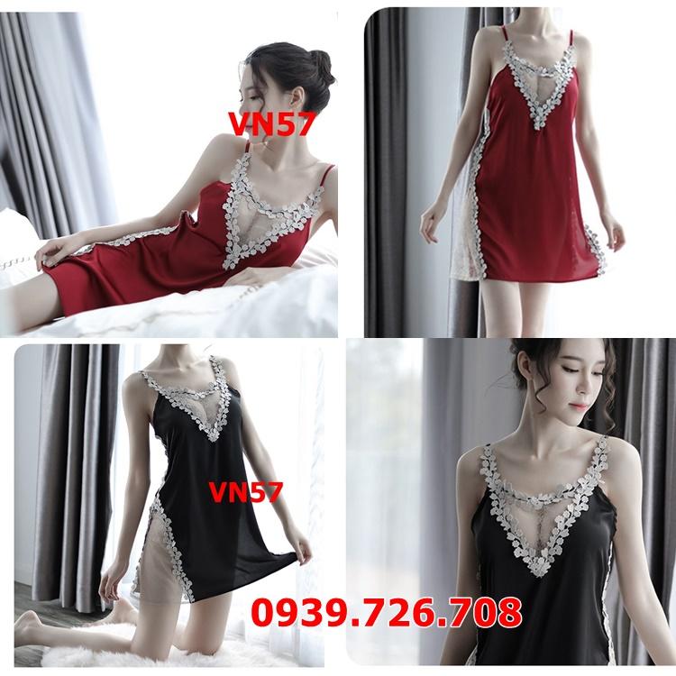 Đầm ngủ nữ phi lụa viền ren xẻ tà