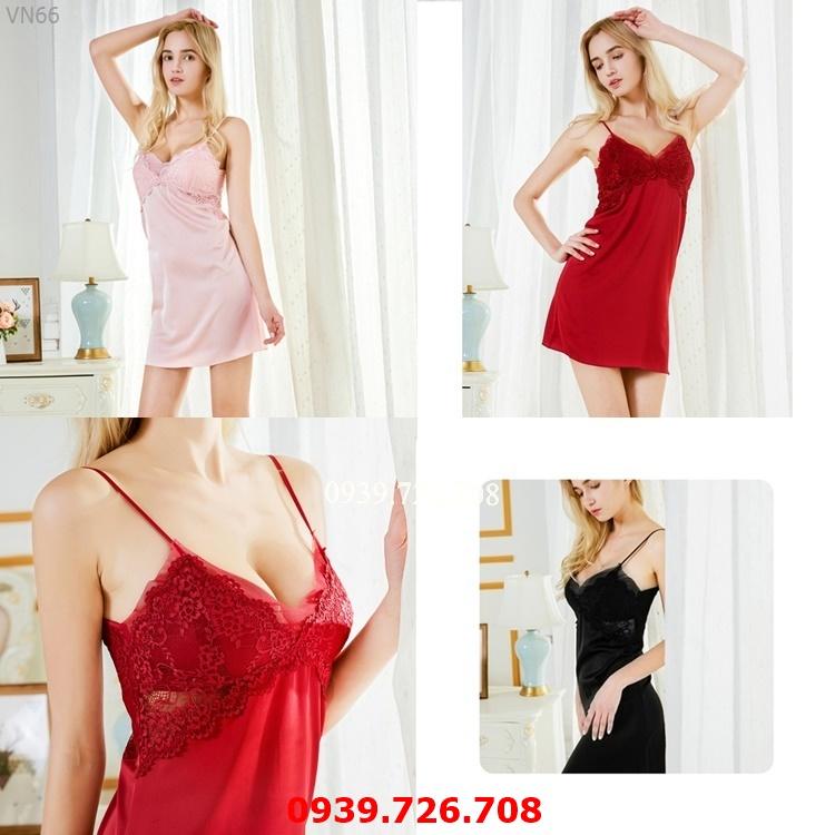 Đầm ngủ lụa đẹp - Váy ngủ nữ 2 dây phối ren lưới chất lụa quyến rũ hàng cao cấp