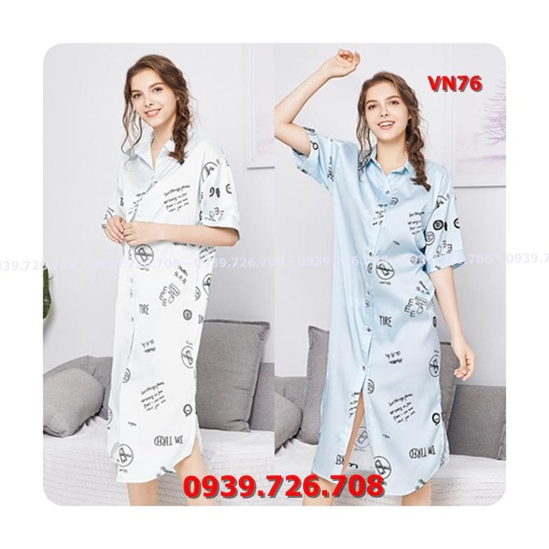 Đầm ngủ nữ kiểu sơ mi dáng dài xẻ tà chất lụa siêu đẹp hàng chuẩn cao cấp