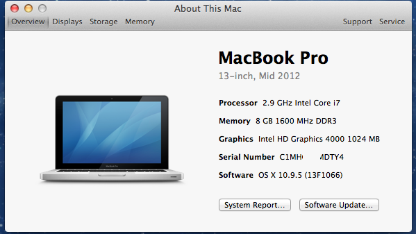 macbook A1278 mid 2012 MD102