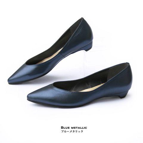 Giày đế thấp navy 2 cm