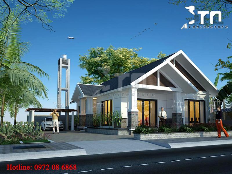 Phối cảnh 1: Thiết kế nhà 1 tầng 2 phòng ngủ mái thái đẹp