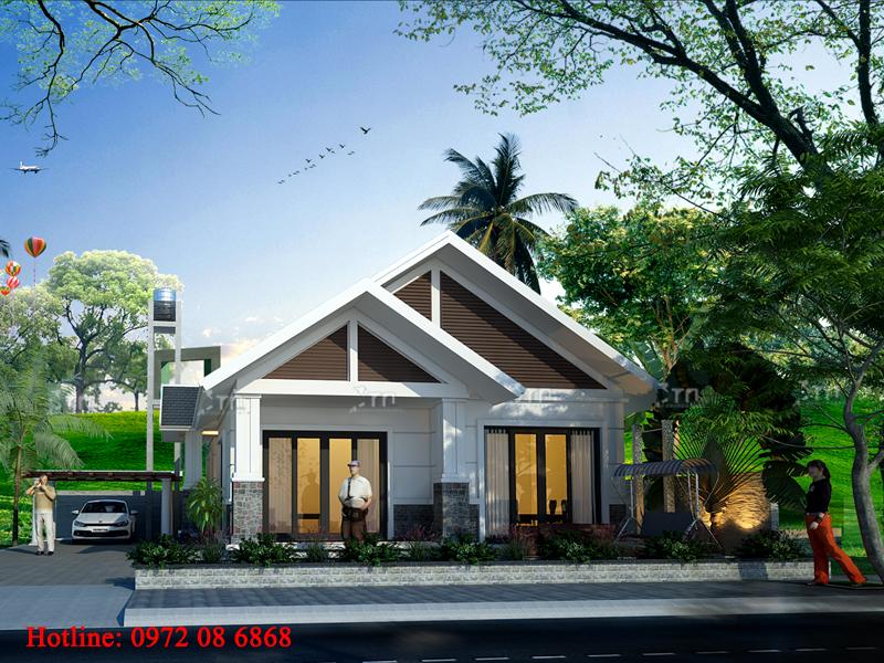 Phối cảnh 2: Thiết kế nhà 1 tầng 2 phòng ngủ ở TP. Nam Định