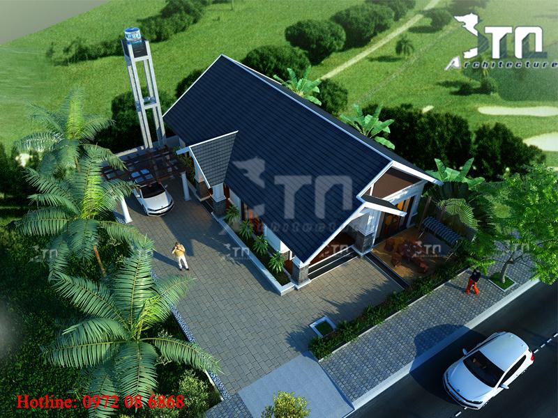 Phối cảnh 3: Thiết kế nhà 1 tầng 2 phòng ngủ tọa lạc trên ô đất rộng