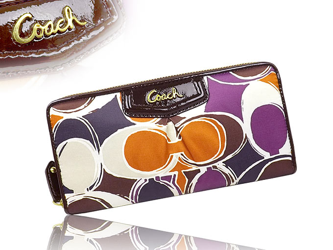 COACH Ashley Hand Drawn Scarf Print Zip Around Wallet