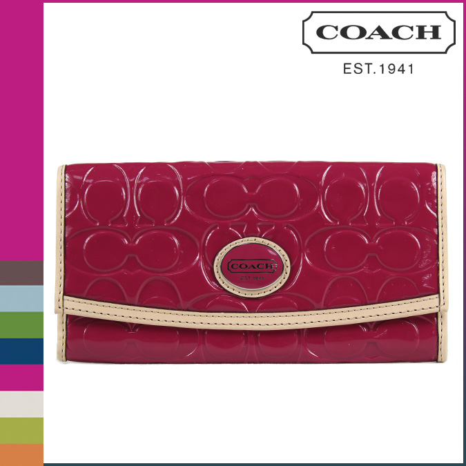 COACH Peyton Embossed Patent Leather Slim Envelope Wallet