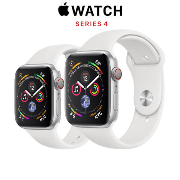 Apple Watch Series 4 (GPS + CELLULAR) Silver Aluminum Case with White Sport Band