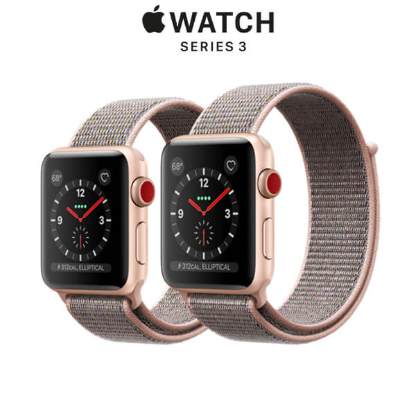 Apple Watch Series 3 GPS + Cellular Gold Aluminum Case with Pink Sand Sport Loop