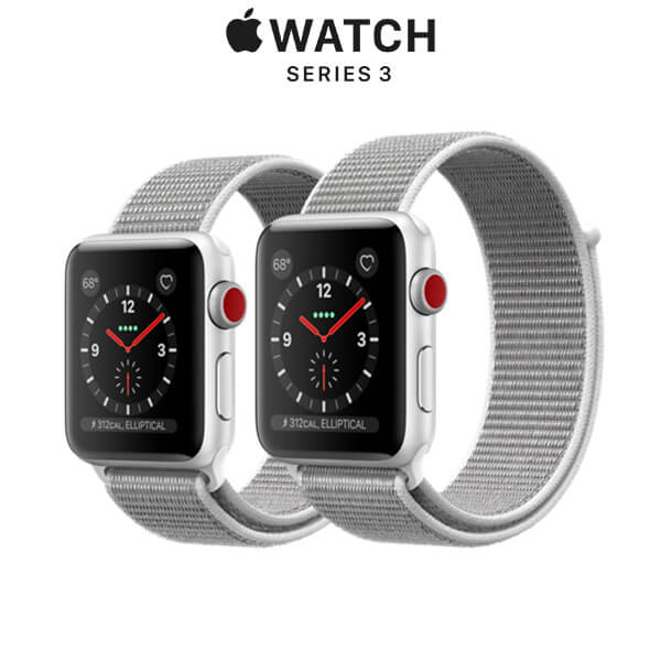 Apple Watch Series 3 GPS + Cellular Silver Aluminum Case with Seashell Sport Loop