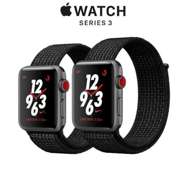 Apple Watch Nike+ Series 3 GPS + Cellular Space Gray Aluminum Case with Black/Pure Platinum Sport Loop