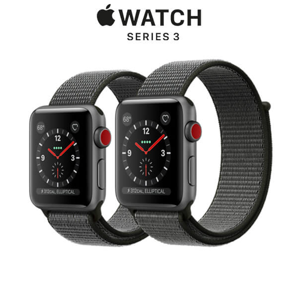 Apple Watch Series 3 GPS + Cellular Space Gray Aluminum Case with Dark Olive Sport Loop
