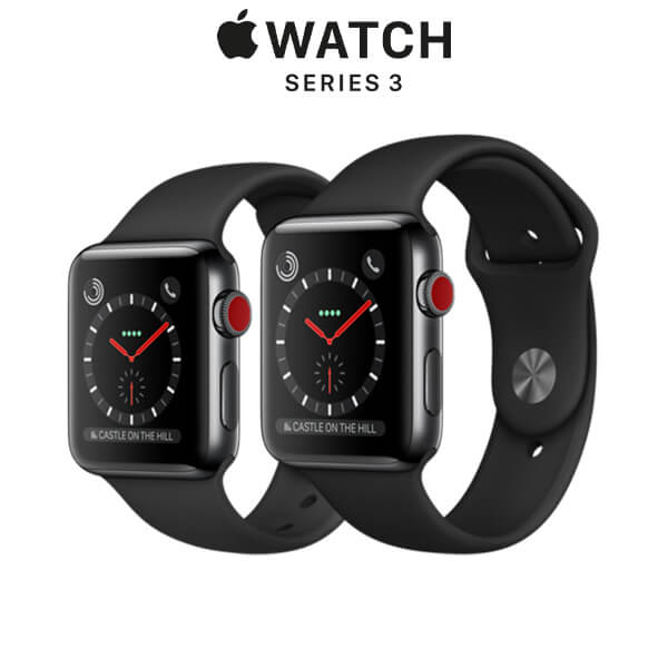 Apple Watch Series 3 GPS + Cellular Space Black Stainless Steel Case with Black Sport Band