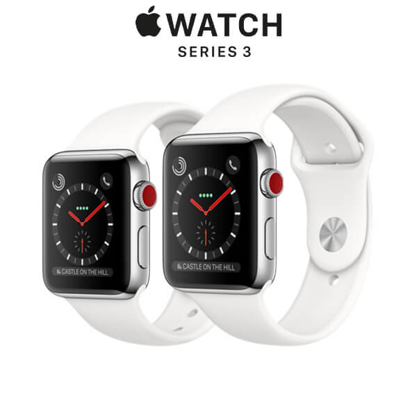 Apple Watch Series 3 GPS + Cellular Stainless Steel Case with Soft White Sport Band