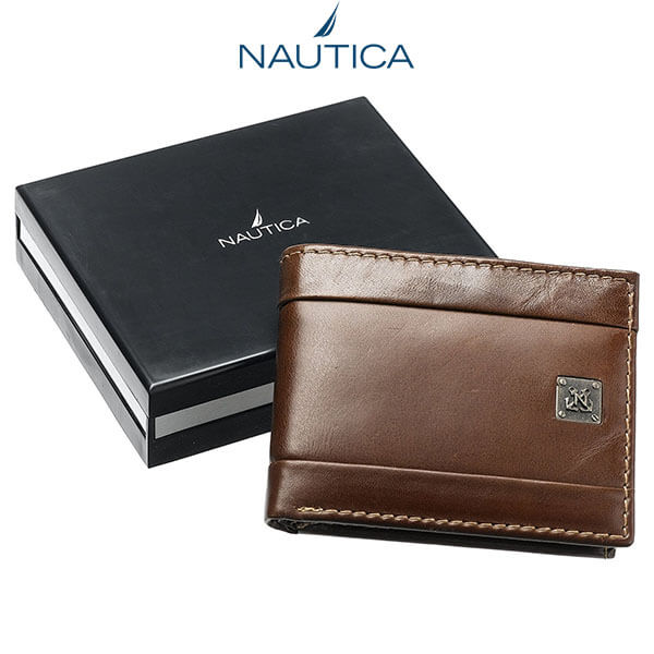 Ví Da Nam Nautica Men's Leather Passcase Bifold