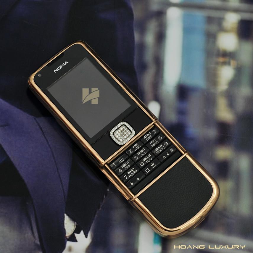 HoangLuxury - Điện thoại Nokia 8800 vàng hồng da đen phím đính full đá